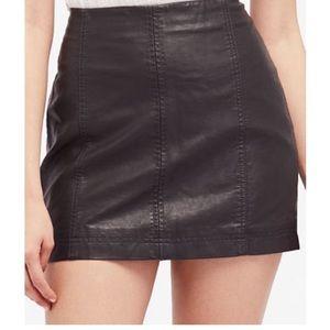 Black leather free people mini skirt